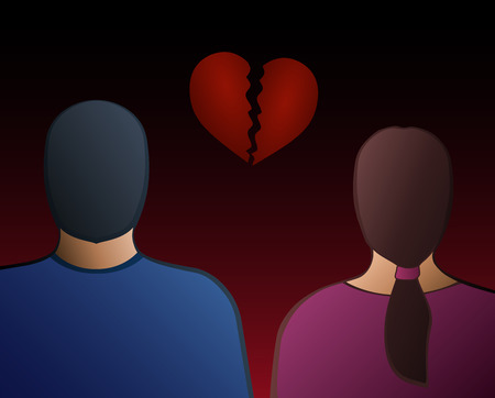 broken back: Back view of a man and a woman with a broken heart between them  Vector illustration on gradient background