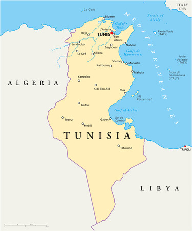 Tunisia Political Map with capital Tunis, national borders, most important cities, rivers and lakes