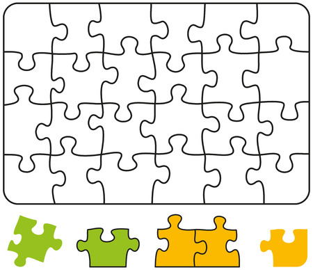 tessellated: Jigsaw Puzzle Rectangle - Jigsaw puzzle in the form of a rectangle with single pieces which can be individually removed and arranged