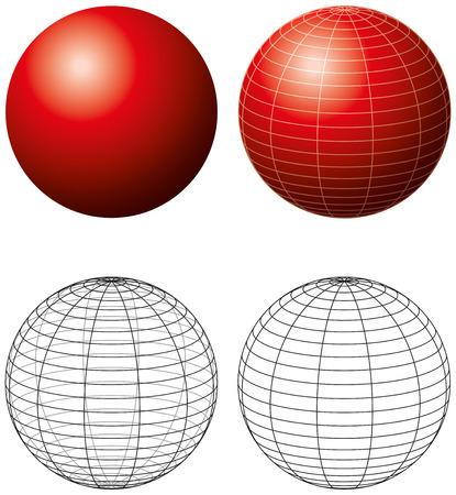 red sphere: Sfera Rossa Con Meridiani - tridimensionale sfera rossa con reticoli e versione contorno