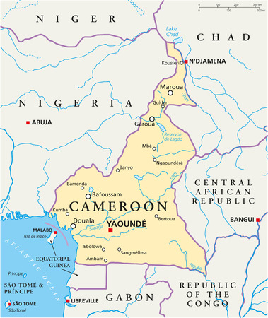 Cameroon Political Map with capital Yaounde, national borders, most important cities, rivers and lakes