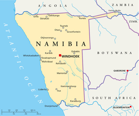 namibia: Namibia Political Map with capital Windhoek, national borders and most important cities