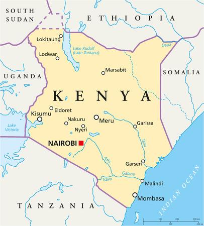 Kenia Mapa político con capital, Nairobi, las fronteras nacionales, las ciudades más importantes, ríos y lagos
