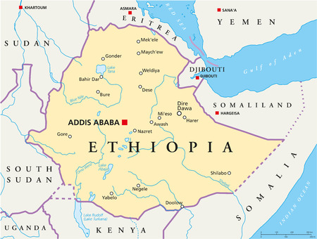 Ethiopia Political Map with capital Addis Ababa, national borders, most important cities, rivers and lakes  Illustration