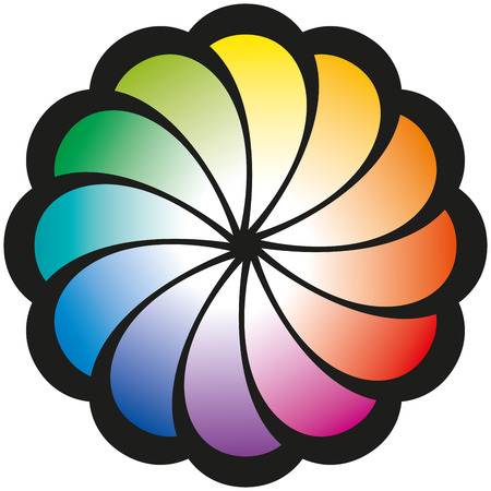 balance rainbow colors: Rainbow Spiral Flower - Spiral pattern in the form of a flower with twelve leafs in rainbow colors