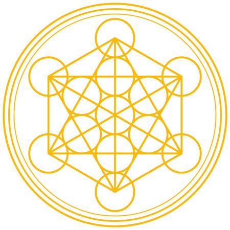 Metatron Cube Gold - Metatrons Cube und Merkaba aus der Blume des Lebens, ein altes Symbol abgeleitet