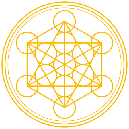 Metatron Cube Gold - Metatrons Cube and Merkaba derived from the Flower of Life, an ancient symbol 版權商用圖片 - 30395105