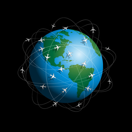 Many airplanes flying around planet earth  Vector illustration on black background  Vector