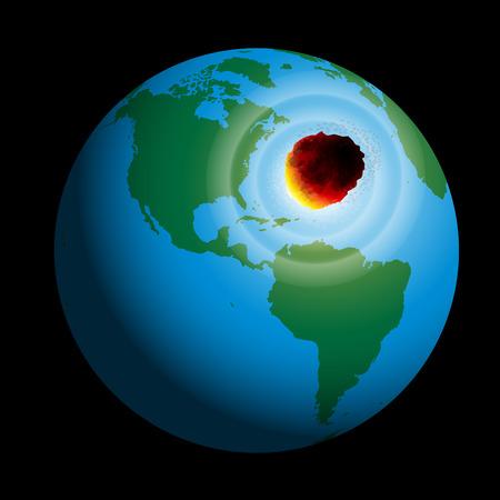 exterminate: Un cometa golpea planeta tierra ilustraci�n vectorial sobre fondo negro