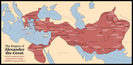 L'impero di Alessandro Magno un suo corso di conquista dalla Grecia all'India a Babilonia nel 334-323 aC con le città, le province e le date con anno illustrazione vettoriale isolato o sfondo nero Archivio Fotografico - 30566349