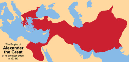 hellenistic: Empire of Alexander the Great as its greatest extent in 323 B C  Vector illustration  Illustration