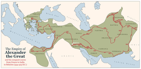 Conquest course of Alexander the Great from Greece to India to Babylon in 334-323 B C  with the most important provinces of his empire  Vector illustration  Illustration