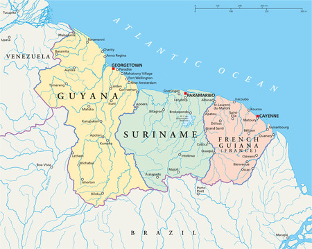 regina: Guyana, Suriname and French Guiana Political Map with capitals Georgetown, Paramaribo and Cayenne, with national borders, most important cities, rivers and lakes  Vector illustration with English labeling and scaling  Illustration