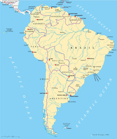 south america map: South America Political Map with single states, capitals, most important cities, national borders, lakes and rivers  Vector illustration with English labeling and scaling