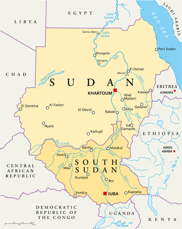 sudan: Sudan and South Sudan Political Map with capitals Khartoum and Juba, with national borders, most important cities, rivers and lakes  Vector illustration with English labeling and scaling  Illustration