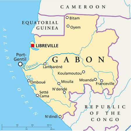 gabon: Gabon Political Map with capital Libreville, national borders, most important cities, rivers and lake  Vector illustration with English labeling and scaling  Illustration