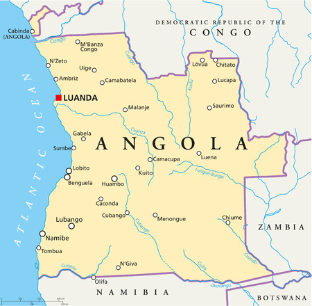Angola Political Map with capital Luanda, with national borders, most important cities, rivers and lakes  Vector illustration with English labeling and scaling
