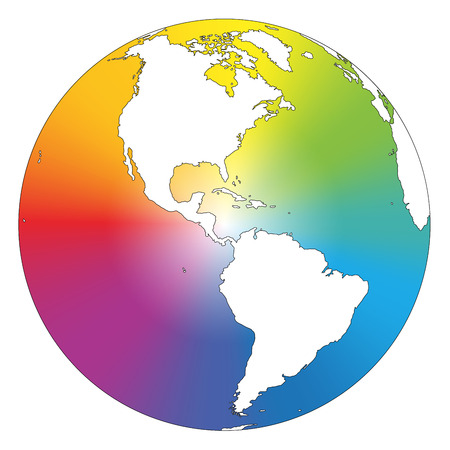rainbow colours: Rainbow color gradient planet earth  Isolated vector illustration on white background