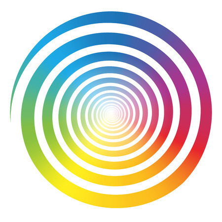 hypnotize: Rainbow color gradient spiral  Isolated vector illustration on white background  Illustration