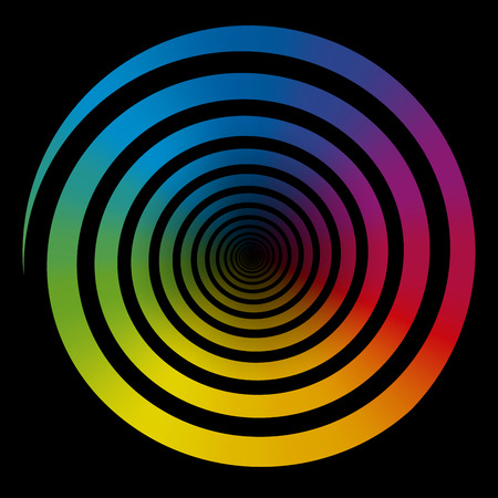 hypnosis: Rainbow color gradient spiral  Isolated vector illustration on black background