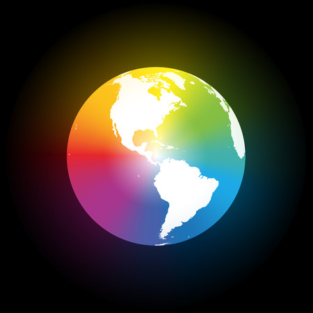 Rainbow color gradient planet earth with smooth aura  Isolated vector illustration on black background  Vector