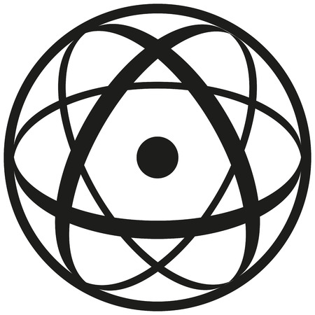 atomic nucleus: Atomic Symbol consisting of a nucleus in three ellipses and a shell  Black and white illustration on white background