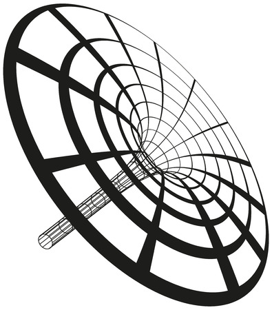spacetime: Black hole funnel generated with circles and lines  Illustration on white background  Illustration