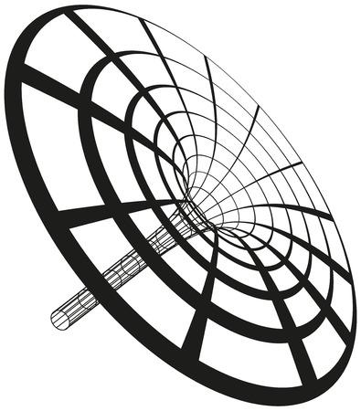 zwart gat: Zwart gat trechter gegenereerd met cirkels en lijnen Illustratie op een witte achtergrond