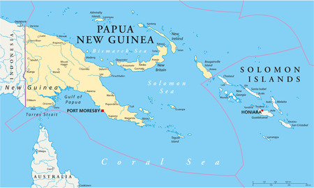 Papua New Guinea Political Map with capital Port Moresby, national borders, most important cities, rivers and lakes  Illustration with English labeling and scaling