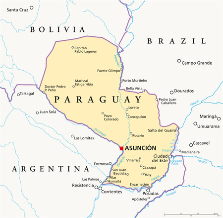 paraguay: Paraguay Political Map with capital Asuncion, national borders, most important cities, rivers and lakes  Illustration with English labeling and scaling