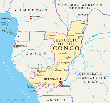 noire: Republic of the Congo Political Map with capital Brazzaville, with national borders, most important cities, rivers and lakes  Illustration with English labeling and scaling