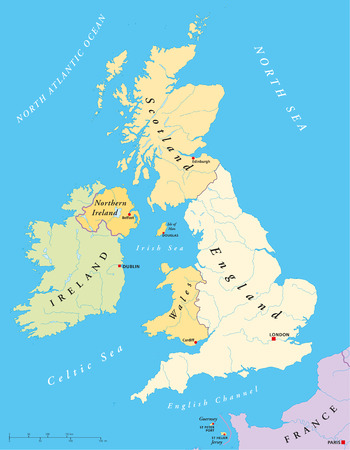 British Isles Map with capitals, national borders, rivers and lakes  Illustration with English labeling and scaling  Vector