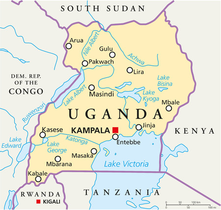 kigali: Uganda Political Map with capital Kampala, with national borders, most important cities, rivers and lakes  Illustration with English labeling and scaling