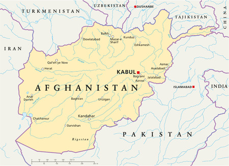 Afghanistan Political Map with capital Kabul, national borders, most important cities, rivers and lakes  Illustration with English labeling and scaling