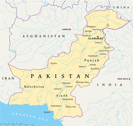 Pakistan Political Map with capital Islamabad, national borders, most important cities, rivers and lakes  Illustration with English labeling and scaling  Illustration