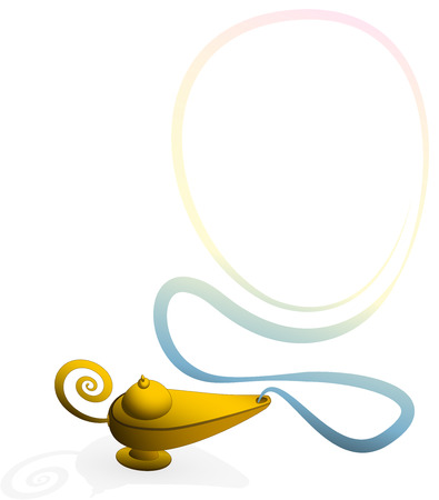 lampara magica: Lámpara mágica con un anillo de humo para insertar una imagen retrato de alguien para ser un ejemplo del vector aislada genio en el fondo blanco
