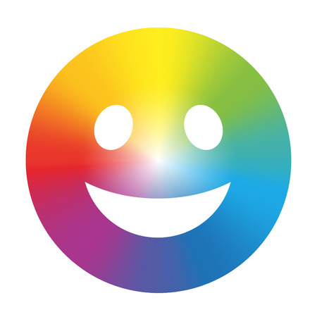 smiley face icon: Rainbow color gradient smiley  Isolated vector illustration on white background