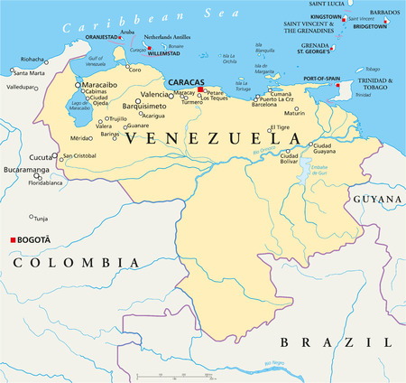 trinidad: Venezuela Political Map with capital Caracas, with national borders, most important cities, rivers and lakes  Illustration with English labeling and scaling