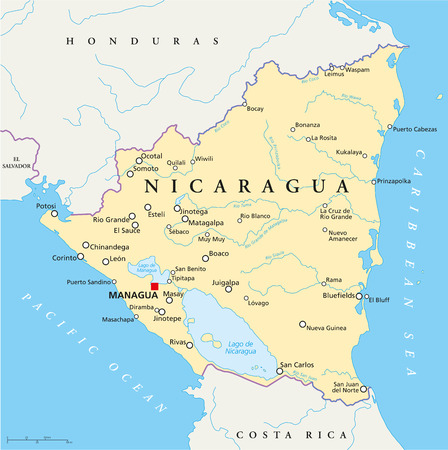 Nicaragua Political Map with capital Managua, with national borders, most important cities, rivers and lakes  Illustration with English labeling and scaling