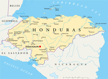 Honduras Political Map with capital Tegucigalpa, with national borders, most important cities, rivers and lakes  Illustration with English labeling and scaling