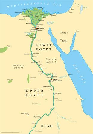 Altes Ägypten Karte mit den wichtigsten Sehenswürdigkeiten, mit Flüssen und Seen Illustration mit englischen Beschriftung und Skalierung Vektorgrafik