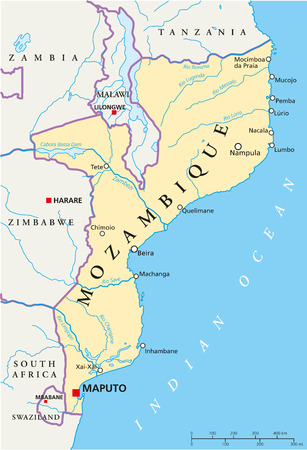 southern africa: Mozambique Political Map with capital Maputo, with national borders, most important cities, rivers and lakes  Illustration with English labeling and scaling