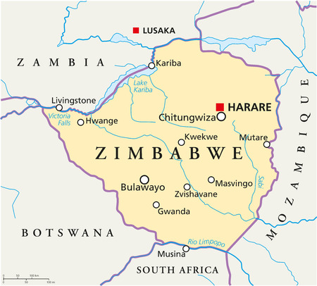 Zimbabwe Political Map with capital Harare, with national borders, most important cities, rivers and lakes  Illustration with English labeling and scaling  Vector