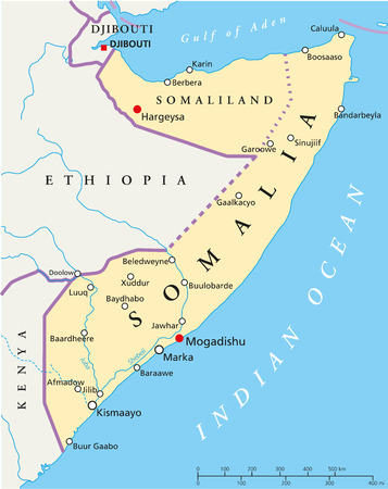 Somalia Political Map with capital Mogadishu, with national borders, most important cities and rivers  Illustration with English labeling and scaling  Ilustracja