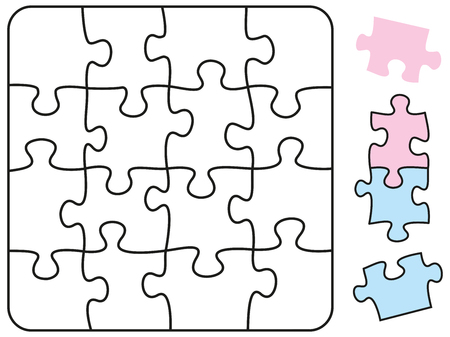 teaser: Jigsaw puzzle in the form of a square with single pieces which can be individually removed and arranged  Illustration on white background