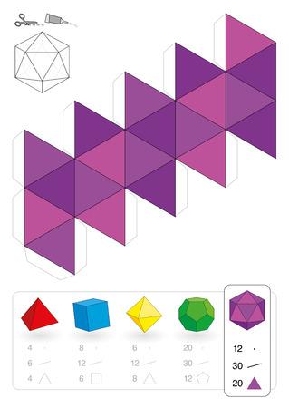 rekodzielo: Model papieru o icosahedron, jeden z pięciu brył platońskich, aby trójwymiarowe dzieło rzemiosła z różowego trójkąta netto poniżej są wszystkie pięć z liczbą wierzchołków, krawędzi i ścian