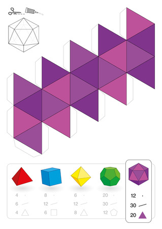 Paper model of an icosahedron, one of the five platonic solids, to make a three-dimensional handicraft work out of the pink triangle net  Below are all five with numbers of vertices, edges and faces