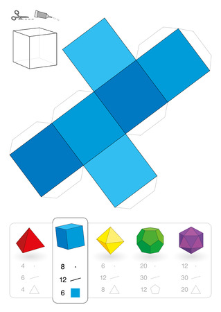 Paper model of a cube or hexahedron, one of five platonic solids, to make a three-dimensional handicraft work out of the blue square net  Below are all five with numbers of vertices, edges and faces