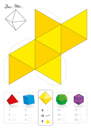 Paper model of an octahedron, one of five platonic solids, to make a three-dimensional handicraft work out of the yellow triangle net  Below are all five with numbers of vertices, edges and faces