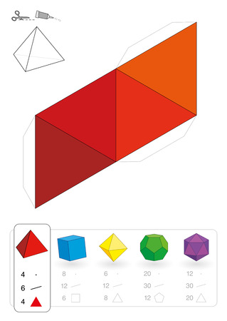 tetrahedron: Paper model of an tetrahedron, one of five platonic solids, to make a three-dimensional handicraft work out of the red triangle net  Below are all five with numbers of vertices, edges and faces  Illustration